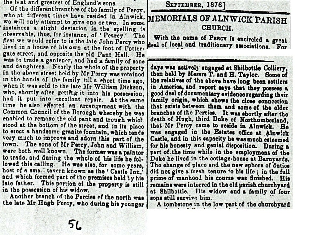 Extract on the family from the Alnwick Parish Gazette 1876.