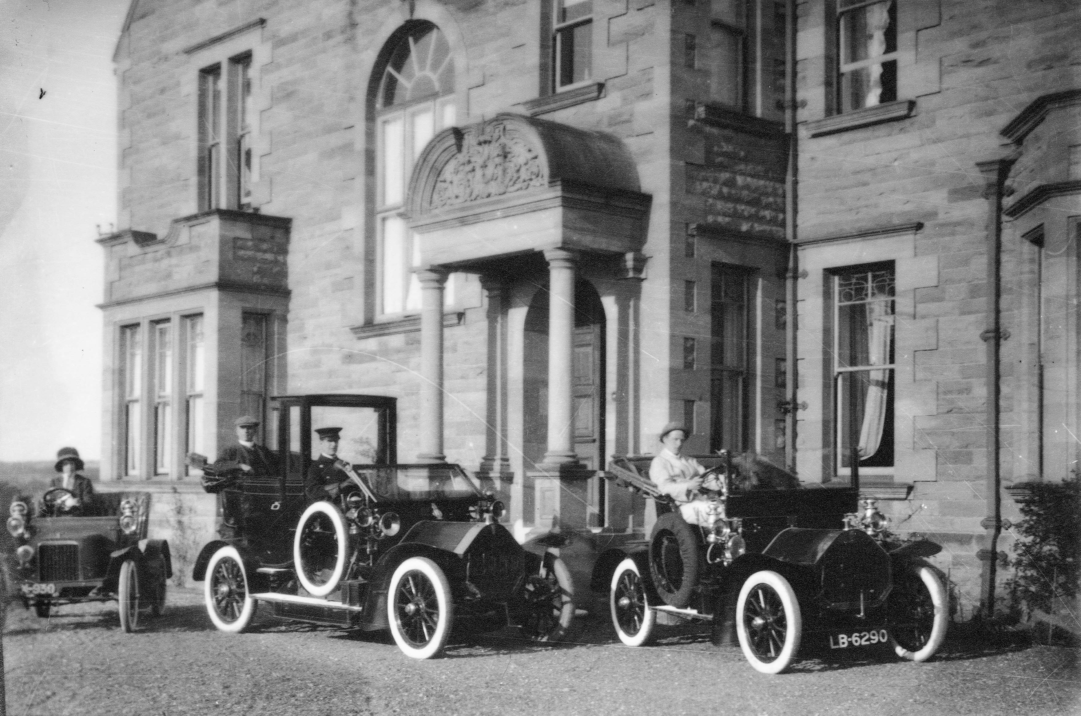 Charles Percy Esq,. My great grand father. Alnwick Solicitor and Coroner for North Northumberland. Estate Solicitor to the Duke of Northumberland. Seen here outside his house Hillcrest, Alnwick with his son, daughter and the chauffeur