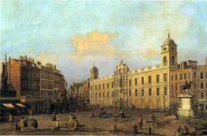 Northumberland House By Canaletto. It was demolished and the Lion atop was adopted at Syon